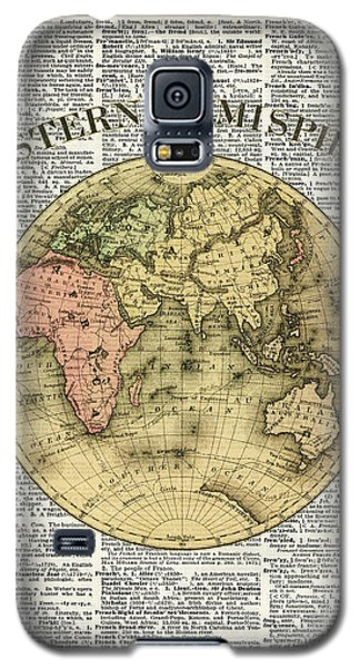 Eastern Hemisphere Earth Map Over Dictionary Page Galaxy S5 Case by Jacob Kuch