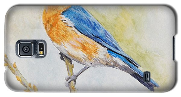 Galaxy S5 Case featuring the painting Eastern Mountain Bluebird by Robert Decker
