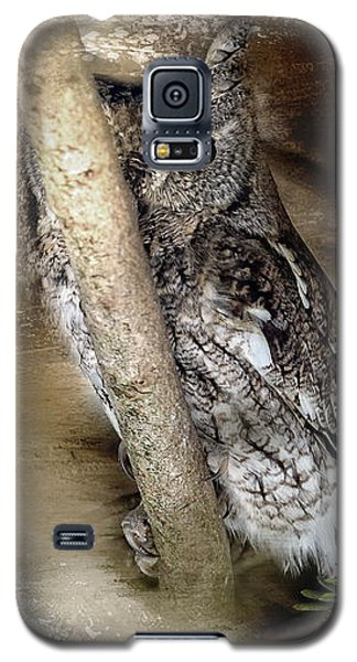 Galaxy S5 Case featuring the photograph Eastern Screech Owl Plays Peek A Boo by Eleanor Abramson