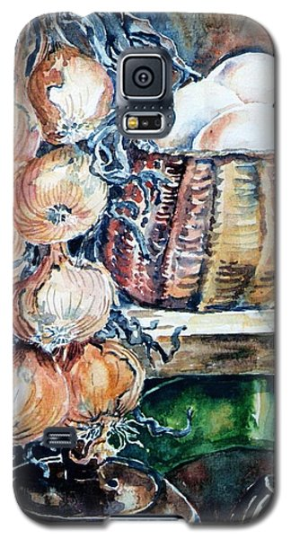 Galaxy S5 Case featuring the painting Eggs And Onions In The Larder  by Trudi Doyle