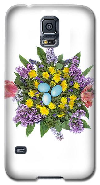 Galaxy S5 Case featuring the photograph Eggs In Dandelions, Lilacs, Violets And Tulips by Lise Winne