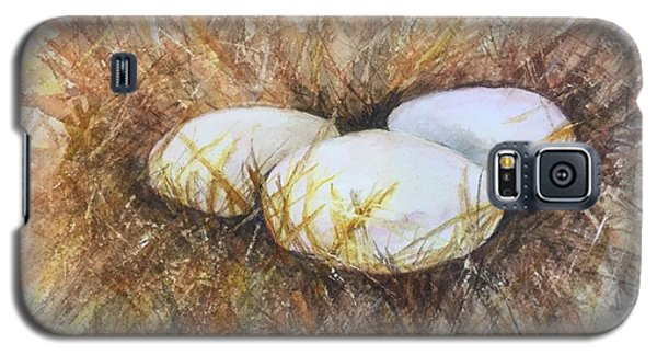 Galaxy S5 Case featuring the painting Eggs On Straw by Lucia Grilletto