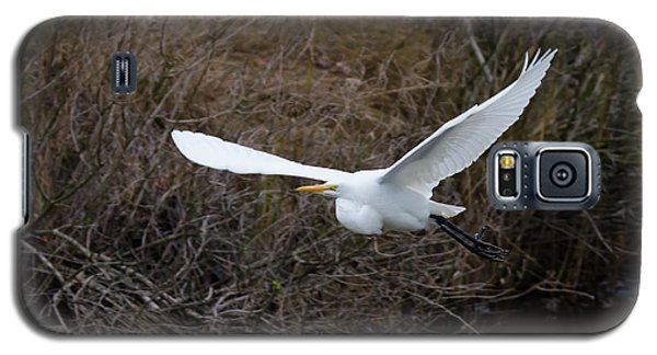 Galaxy S5 Case featuring the photograph Egret In Flight by George Randy Bass