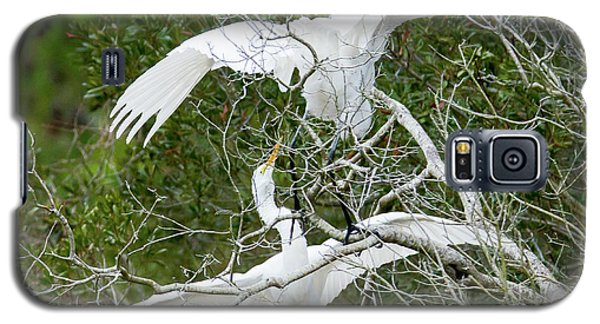 Galaxy S5 Case featuring the photograph Egret Rumble by George Randy Bass