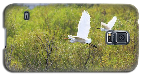 Galaxy S5 Case featuring the photograph Egrets In Flight by Jennifer Casey