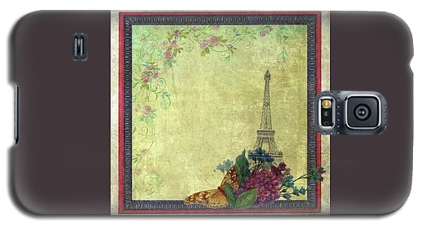 Eiffel Tower Faded Floral With Swirls Galaxy S5 Case