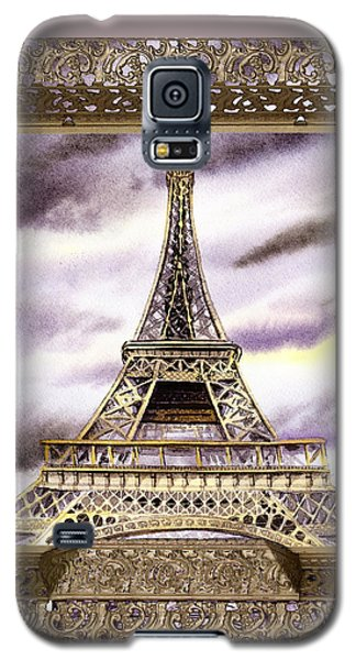 Galaxy S5 Case featuring the painting Eiffel Tower Laces Iv  by Irina Sztukowski