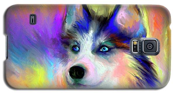 Electric Siberian Husky Dog Painting Galaxy S5 Case by Svetlana Novikova