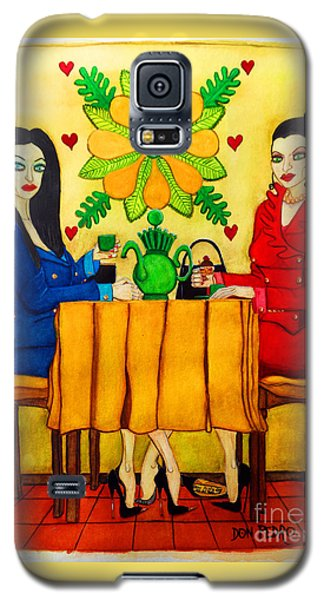 Galaxy S5 Case featuring the painting Elegant Ladies In A Coffee-shop by Don Pedro De Gracia