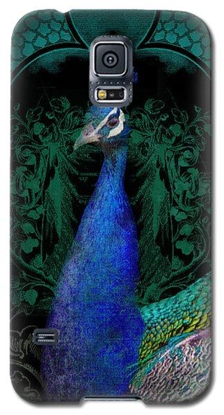 Elegant Peacock W Vintage Scrolls  Galaxy S5 Case by Audrey Jeanne Roberts