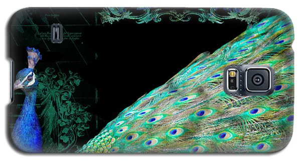Elegant Peacock W Vintage Scrolls Typography 4 Galaxy S5 Case by Audrey Jeanne Roberts