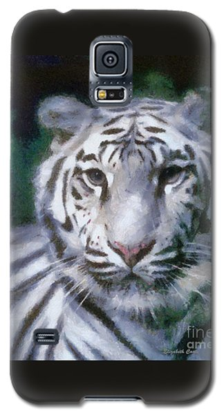 Galaxy S5 Case featuring the painting Elegant White Tiger by Elizabeth Coats