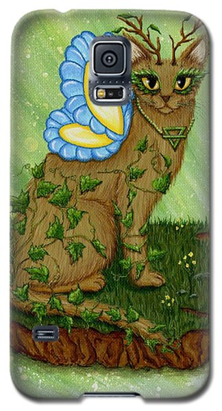 Galaxy S5 Case featuring the painting Elemental Earth Fairy Cat by Carrie Hawks
