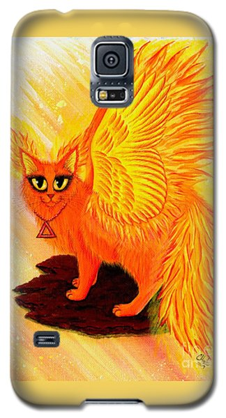Galaxy S5 Case featuring the painting Elemental Fire Fairy Cat by Carrie Hawks