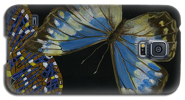 Galaxy S5 Case featuring the painting Elena Yakubovich - Butterfly 2x2 Top Right Corner by Elena Yakubovich