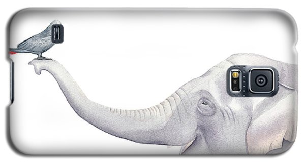 Elephant And Bird Watercolor Galaxy S5 Case by Taylan Apukovska