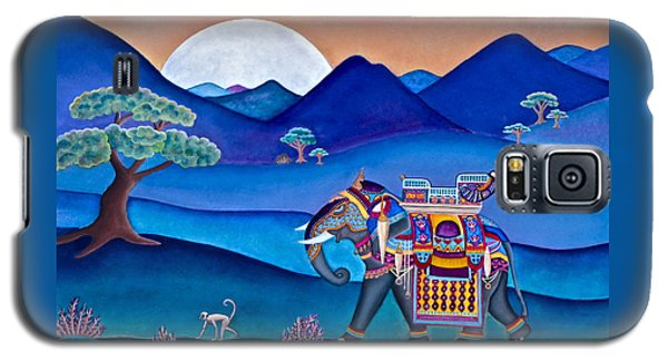 Galaxy S5 Case featuring the painting Elephant And Monkey Stroll by Lori Miller