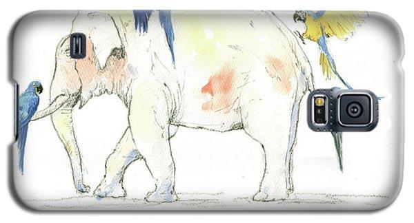 Elephant And Parrots Galaxy S5 Case by Juan Bosco