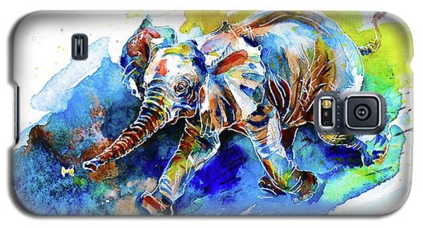 Galaxy S5 Case featuring the painting Elephant Calf Playing With Butterfly by Zaira Dzhaubaeva