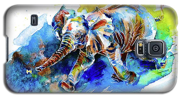 Elephant Calf Playing With Butterfly Galaxy S5 Case