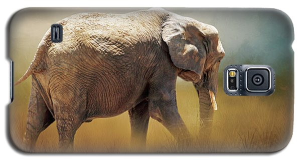 Galaxy S5 Case featuring the photograph Elephant In The Mist by David and Carol Kelly