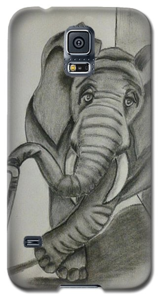 Galaxy S5 Case featuring the drawing Elephant Still Waiting by Kelly Mills