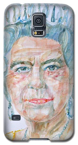 Galaxy S5 Case featuring the painting Elizabeth II - Watercolor Portrait.2 by Fabrizio Cassetta