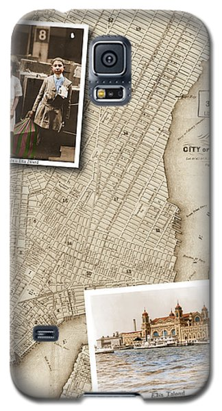 Ellis Island Vintage Map Child Immigrants Galaxy S5 Case