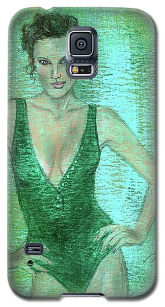 Galaxy S5 Case featuring the painting Emerald Greem by P J Lewis