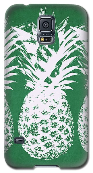 Galaxy S5 Case featuring the mixed media Emerald Pineapples- Art By Linda Woods by Linda Woods