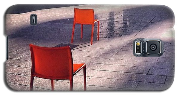 Orange Galaxy S5 Case - Empty Chairs At Mint Plaza by Julie Gebhardt