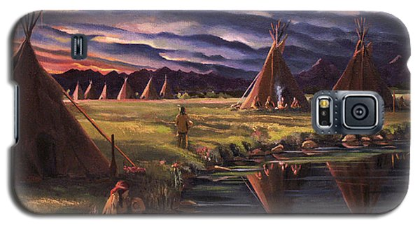 Galaxy S5 Case featuring the painting Encampment At Dusk by Nancy Griswold