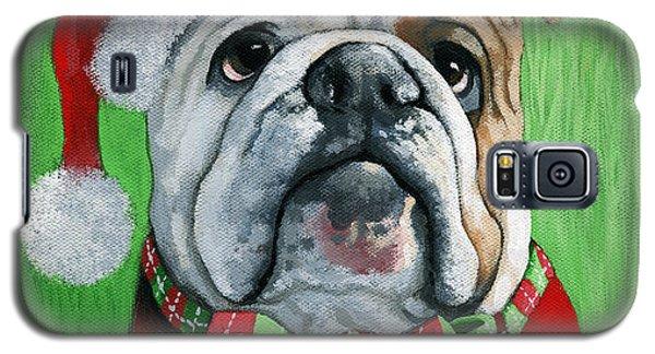 Holiday Cheer -english Bulldog Santa Dog Painting Galaxy S5 Case