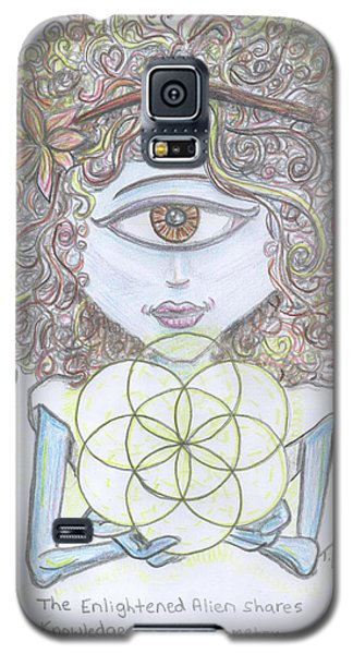 Galaxy S5 Case featuring the drawing Enlightened Alien by Similar Alien