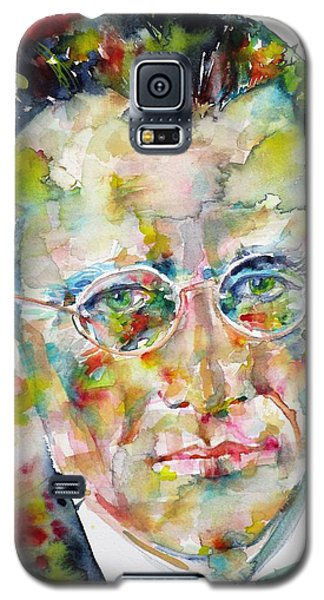 Galaxy S5 Case featuring the painting Erwin Schrodinger - Watercolor Portrait by Fabrizio Cassetta
