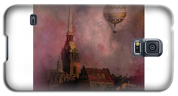 Galaxy S5 Case featuring the digital art Stockholm Church With Flying Balloon by Jeff Burgess