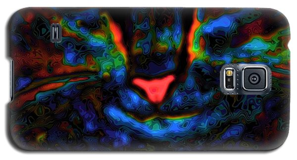 Galaxy S5 Case featuring the digital art Ethical Kitty See's Your Dilemma Light 2 Dark Version by Lisa Brandel