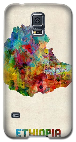 Galaxy S5 Case featuring the digital art Ethiopia Watercolor Map by Michael Tompsett