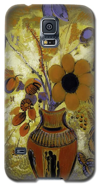 Galaxy S5 Case featuring the painting Etrusian Vase With Flowers by Odilon Redon