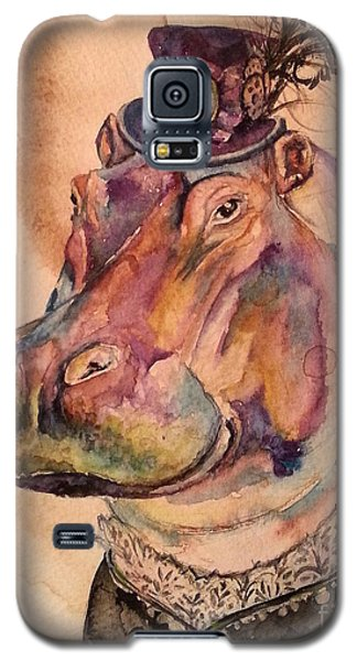 Galaxy S5 Case featuring the painting Eunice Hippo by Christy  Freeman