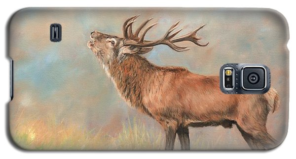 Galaxy S5 Case featuring the painting European Red Deer by David Stribbling