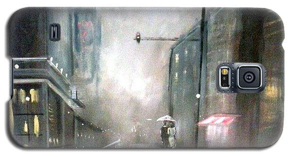 Galaxy S5 Case featuring the painting Evening Walk In The Rain by Raymond Doward