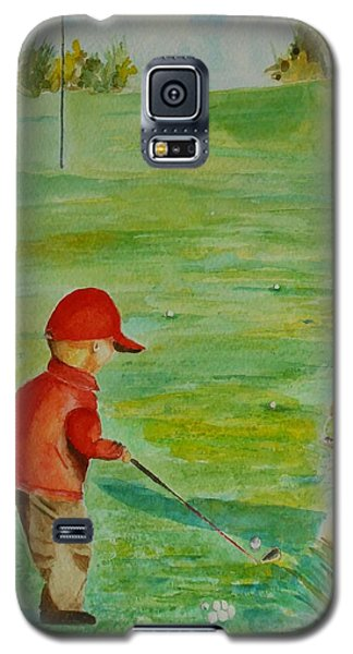 Galaxy S5 Case featuring the painting Everything Waits While I Golf Art by Geeta Biswas