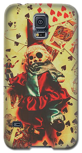 Evil Clown Doll On Playing Cards Galaxy S5 Case