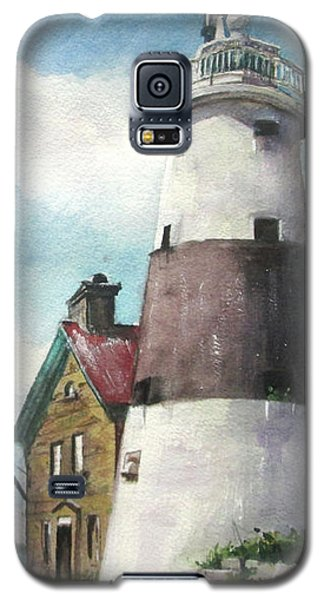 Galaxy S5 Case featuring the painting Execution Rocks Lighthouse by Susan Herbst