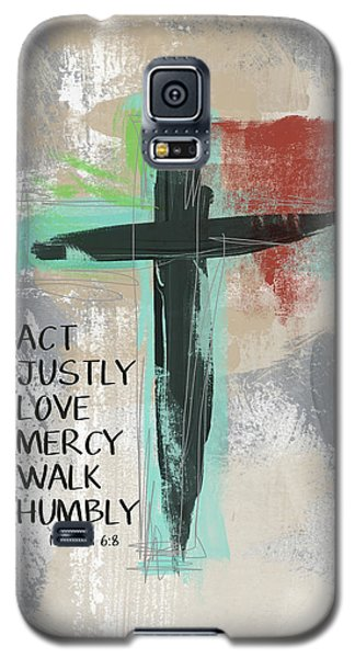 Religious Galaxy S5 Case - Expressionist Cross Love Mercy- Art By Linda Woods by Linda Woods