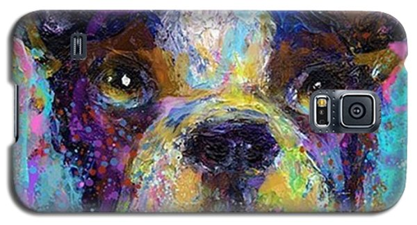 Animal Galaxy S5 Case - Expressive Boston Terrier Painting By by Svetlana Novikova