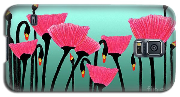 Expressive Red Pink Green Poppy Painting Y1a Galaxy S5 Case