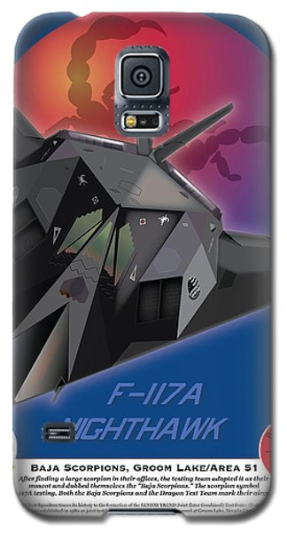 Galaxy S5 Case featuring the drawing F117a Nighthawk by Kenneth De Tore
