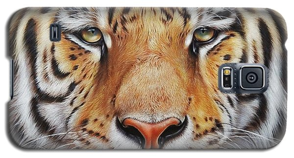 Galaxy S5 Case featuring the drawing Faces Of The Wild - Amur Tiger by Elena Kolotusha